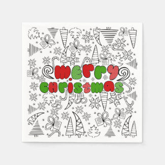 """Merry Christmas"" doodle kid's drawning style, Disposable Napkin"