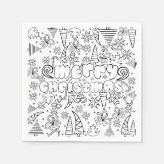 """Merry Christmas"" doodle kid's drawning style, Disposable Napkins"
