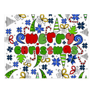 """""""Merry Christmas"""" doodle kid's drawning style Postcard"""