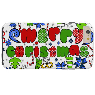"""Merry Christmas"" doodle kid's drawning style Tough iPhone 6 Plus Case"