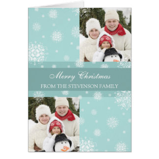 Merry Christmas Double Photo Card Blue Snow