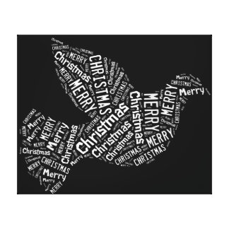 Merry Christmas Dove, White on Black, Canvas Gallery Wrap Canvas
