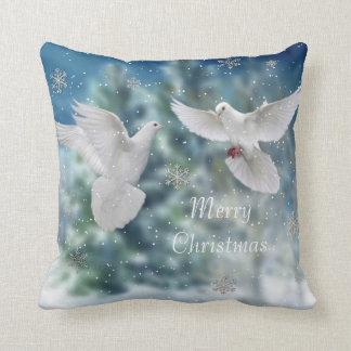 Merry Christmas doves pillow