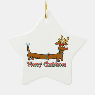 Merry Christmas Doxie Ceramic Star Decoration