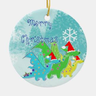 Merry Christmas Dragons Round Ceramic Decoration