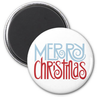 Merry Christmas dusk blue Round Magnet