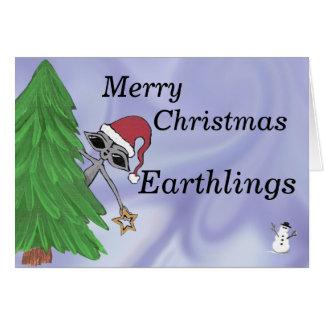 Merry Christmas Earthlings Alien Greeting Card