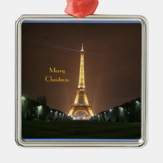 Merry Christmas - Eiffel Tower at night Christmas Ornament