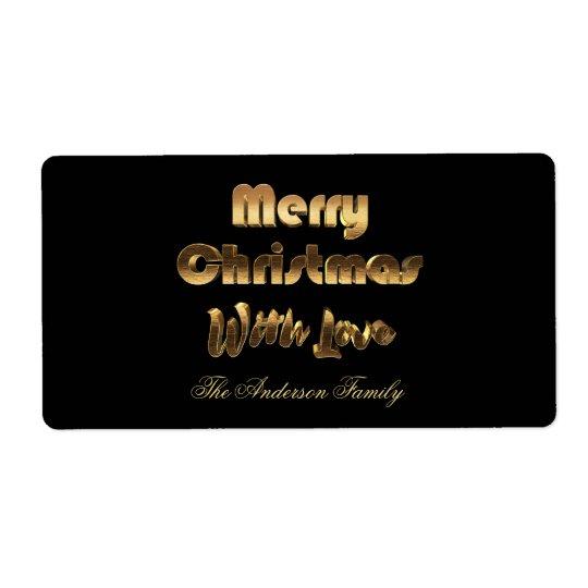 Merry Christmas Elegant Black Gold Typography Shipping Label