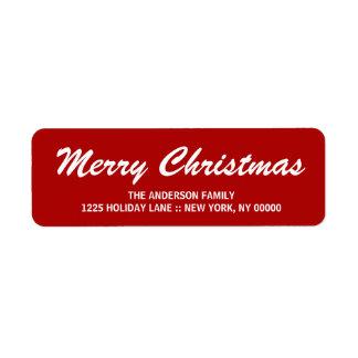 Merry Christmas Elegant Brushstroke Script Label Return Address Label