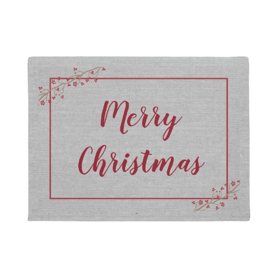 Merry Christmas, elegant burgundy grey Doormat