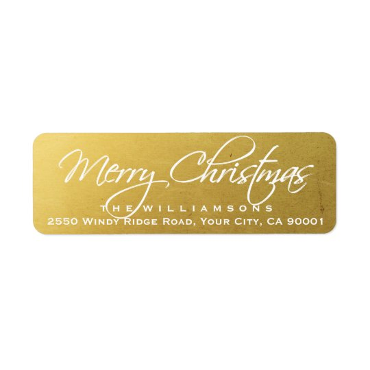 Merry Christmas Elegant Calligraphy Script Gold Return Address Label