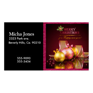 Merry Christmas Elegant Glass Ornaments & Ribbon Business Card