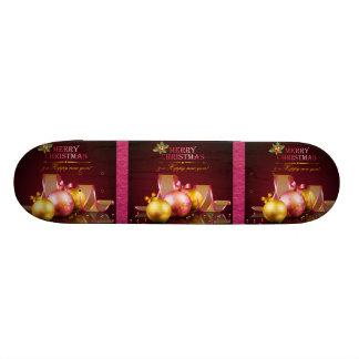 Merry Christmas Elegant Glass Ornaments & Ribbon Skate Boards