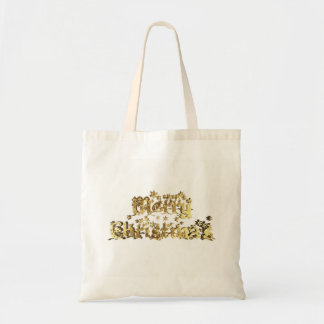 Merry Christmas Elegant Gold Stars Typography Tote Bag