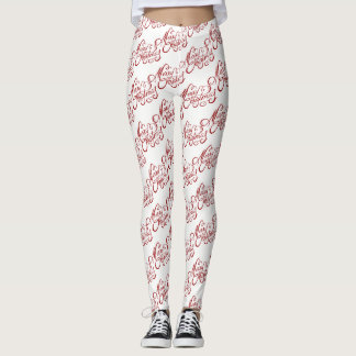Merry Christmas Elegant Red and White Typography Leggings