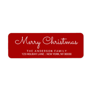 Merry Christmas Elegant Red Hand Lettered Label