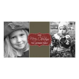 Merry Christmas - Elegant Script 2 Pictures Photo Cards