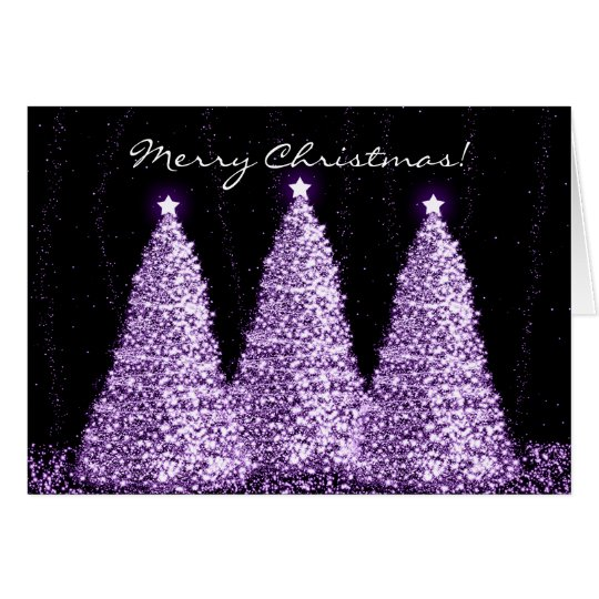 Merry Christmas Elegant Sparkle Trees Purple Card