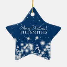 Merry Christmas Elegant Winter Sparkle Royal Blue
