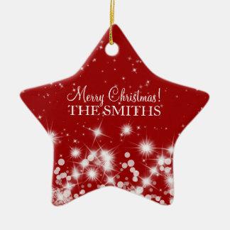 Merry Christmas Elegant Winter Sparkle Ruby Red Ceramic Star Decoration