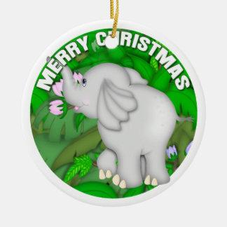 Merry Christmas Elephant Christmas Ornament
