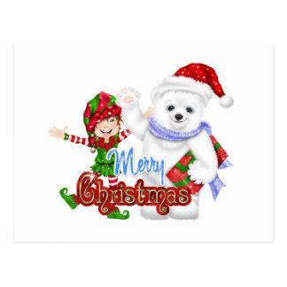 Merry Christmas Elf Bear Post Cards