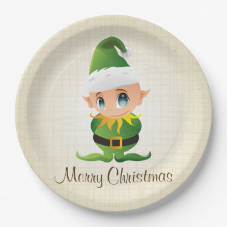 Merry Christmas Elf Holiday Paper Plates 9 Inch Paper Plate