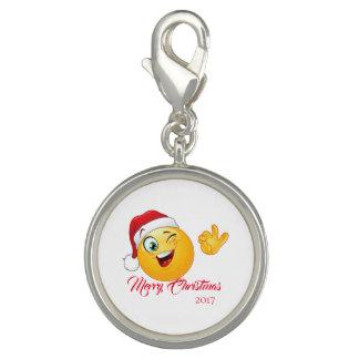 Merry Christmas Emoji Santa Silver Plate Charm