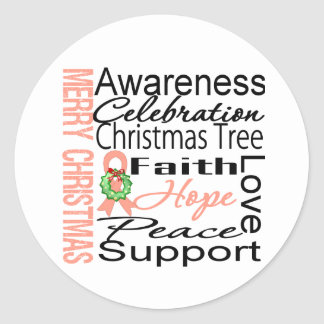 Merry Christmas Endometrial Cancer Ribbon Collage Round Sticker