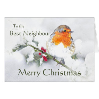 Merry Christmas English Robin Best Neighbour Bird Card