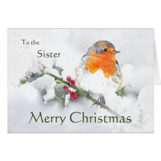 Merry Christmas English Robin Bird Best Sister Card