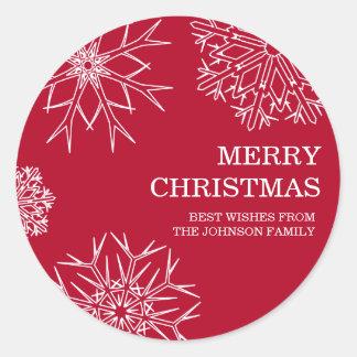 Merry Christmas Envelope Seals - Red Round Sticker