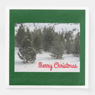 Merry Christmas Evergreen - Napkins Disposable Napkins