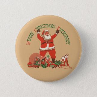 Merry Christmas Everybody! Vintage Santa Claus 6 Cm Round Badge