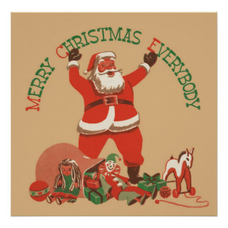 Merry Christmas Everybody! Vintage Santa Claus Poster