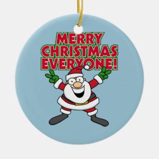 Merry Christmas Everyone Round Ceramic Decoration