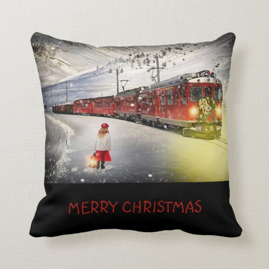 Merry Christmas Express Train Throw Pillow Cushion