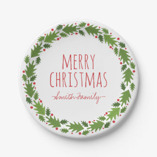 Merry Christmas. Family. Holiday. 7 Inch Paper Plate