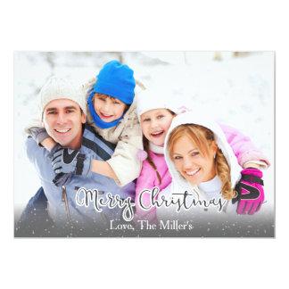 Merry Christmas Family Holiday Photocard w/Snow Card