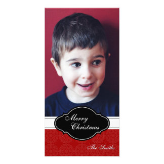 Merry Christmas Family Photo Card - Red Plaque