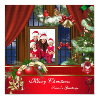 Merry Christmas Family Photo Red Green Window 13 Cm X 13 Cm Square Invitation Card