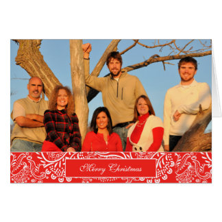 Merry Christmas Family Photo Snap Dragon Coral Greeting Card