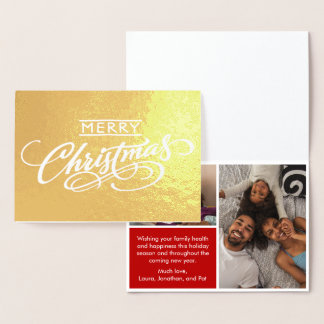 Merry Christmas Family Photo Typography Foil Card