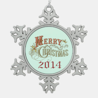 Merry Christmas Fancy Text Design Pewter Snowflake Decoration