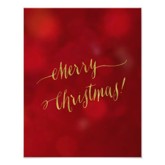 Merry Christmas Faux Gold Foil Red Bokeh Script Photo Print