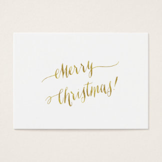 Merry Christmas Faux Gold Foil Script Lettering Business Card