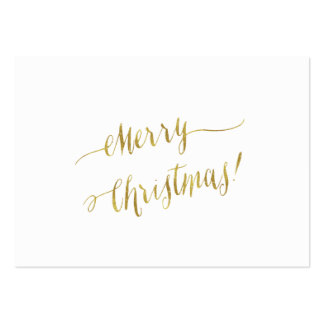 Merry Christmas Faux Gold Foil Script Lettering Pack Of Chubby Business Cards