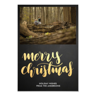 Merry Christmas Faux Gold Script Holiday Photo Card