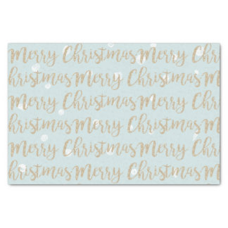 Merry Christmas Faux Gold Script Typography Blue Tissue Paper